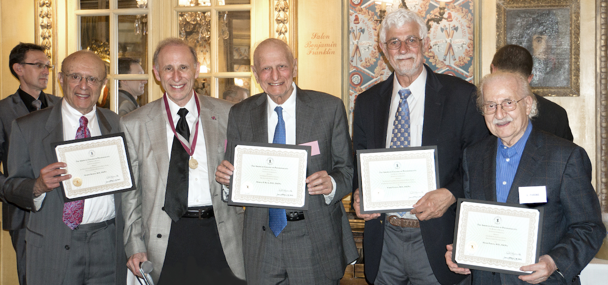 henry-p-and-page-laughlin-award-winners-drs-gilbert-kliman-harold-blum-vamik-volkan-and-henri-parens-receiveing-certificates-from-dr-blackman