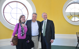 Susan and Jerry Blackman with Clay Jenkinson in 3rd floor room in Monticello