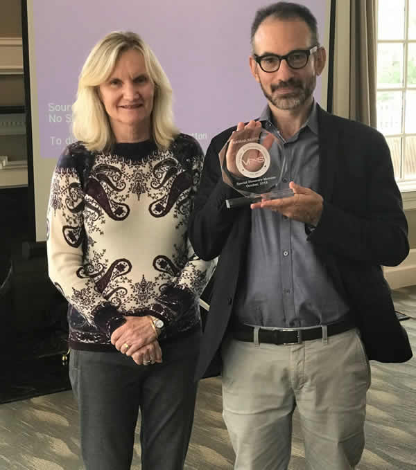 Dr. Nathan Kravis received honorary membership in VPsaS from Dr. Kathleen Dring after his presentation in October 2018